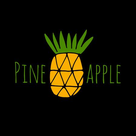 Pineapple, sketch for your design Ilustração