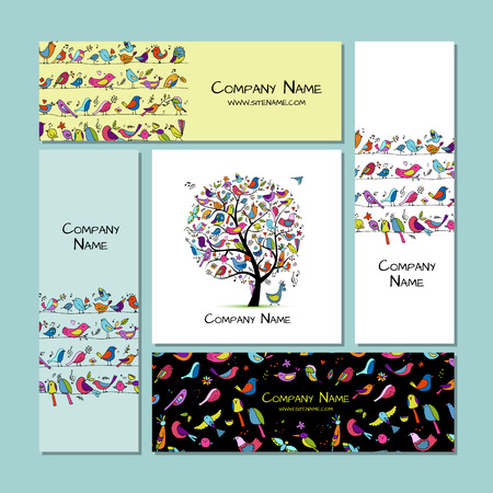 Business cards design, funny birds background. Vector illustration