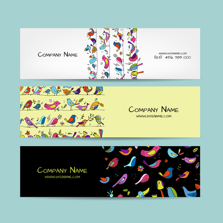 Banners design, funny birds background. Vector illustration Stock Vector - 113874327