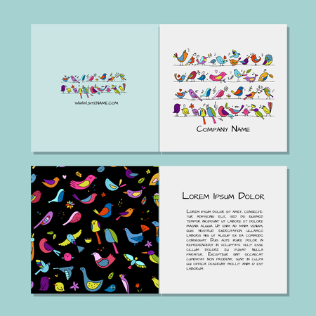 Greeting cards design, funny birds background. Vector illustration