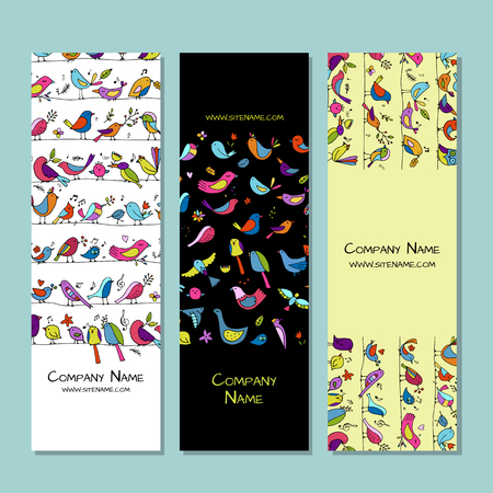 Banners design, funny birds background. Vector illustration