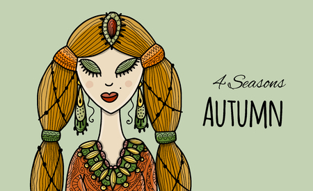Female beauty, autumn style for your design. Vector illustration