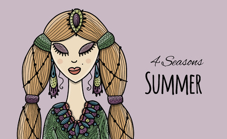 Female beauty, summer style for your design. Vector illustration