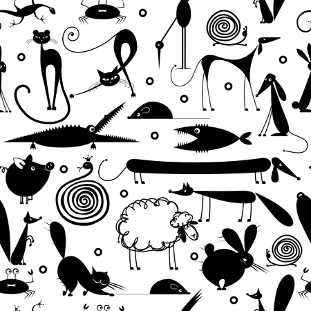 Funny animals, seamless pattern for yor design Stock Illustratie