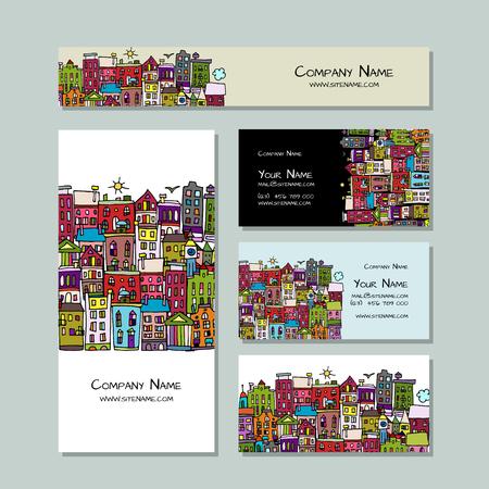 Business cards design, european city street Illustration