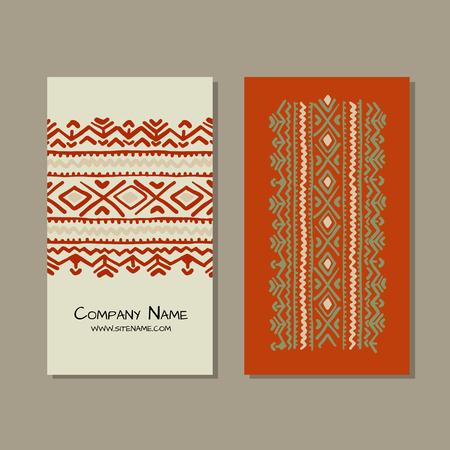 Business cards design, folk ornament. Vector illustration Banque d'images - 126752273