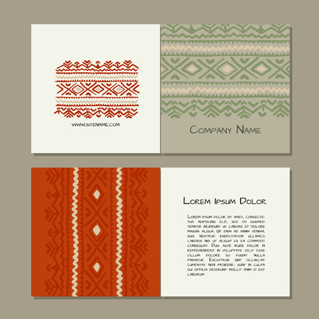 Business cards design, folk ornament. Vector illustration Banque d'images - 126752279