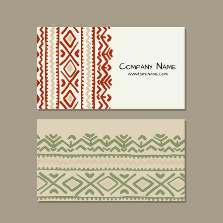 Business cards design, folk ornament. Vector illustration Banque d'images - 126752283