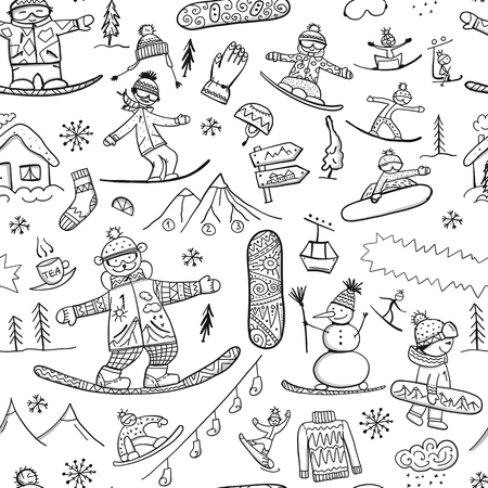 Snowboard time, seamless pattern for your design. Vector illustration