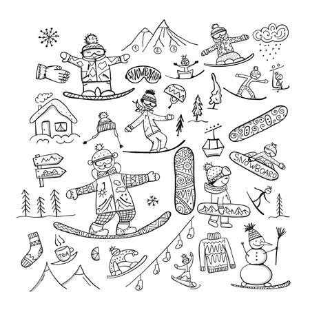 Czas na snowboard, szkic do swojego projektu Ilustracje wektorowe