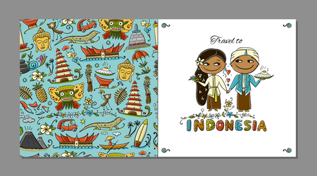 Travel to Indonesia. Greeting card for your design. Vector illustration Archivio Fotografico - 126752288