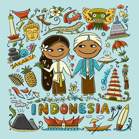 Travel to Indonesia. Greeting card for your design. Vector illustration Illustration