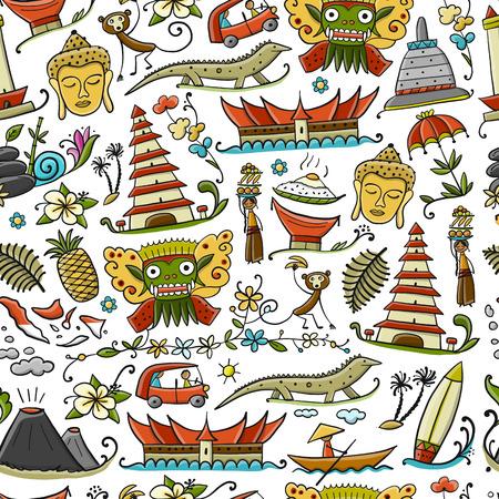 Viaja a Indonesia. Patrones sin fisuras para su diseño. Ilustración vectorial