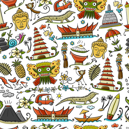 Voyage en Indonésie. Modèle sans couture pour votre conception. Illustration vectorielle