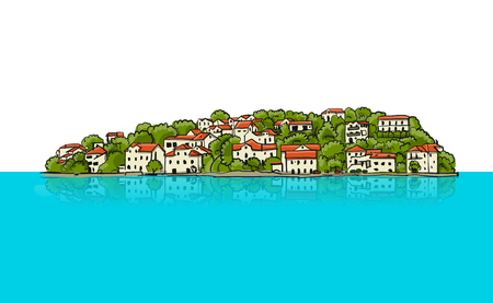 Old european city. Mediterranean sea. Sketch for your design. Vector illustration