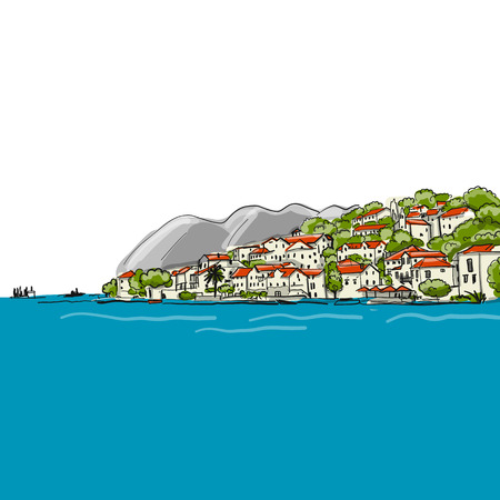 Old european city. Mediterranean sea. Sketch for your design. Vector illustration
