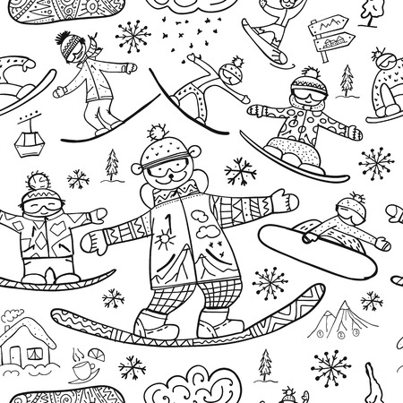 Snowboard time, seamless pattern for your design. Vector illustration Stock Vector - 126752294
