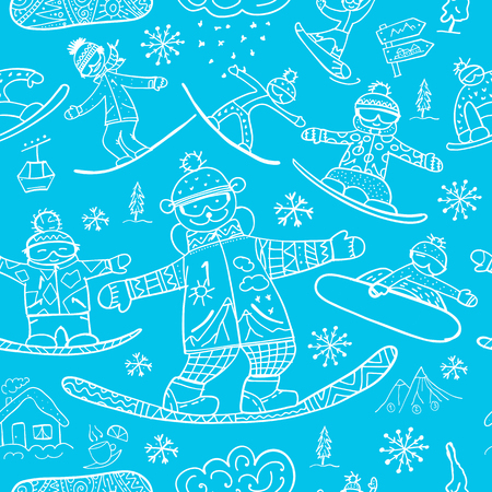 Snowboard time, seamless pattern for your design. Vector illustration Stock Vector - 126752295
