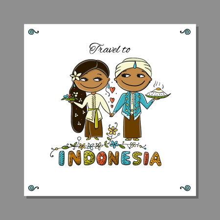 Travel to Indonesia. Greeting card for your design Stock Vector - 113955538