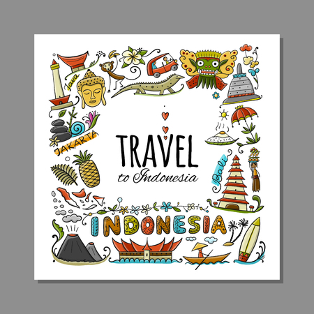 Travel to Indonesia. Greeting card for your design. Vector illustration Stock Vector - 126752297