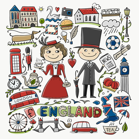Travel to England. Greeting card for your design