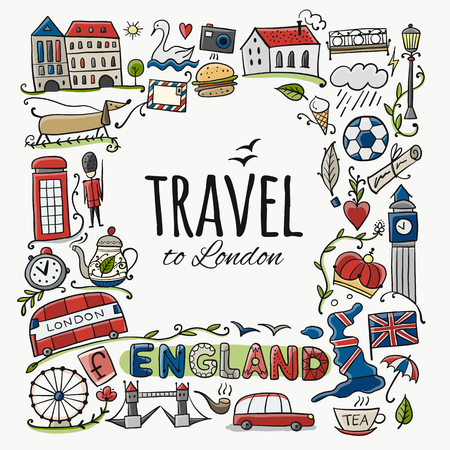 Travel to England. Greeting card for your design Imagens - 114459811