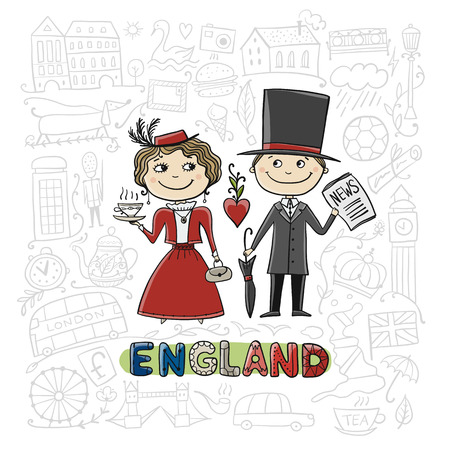 Travel to England. Greeting card for your design Archivio Fotografico - 114459815