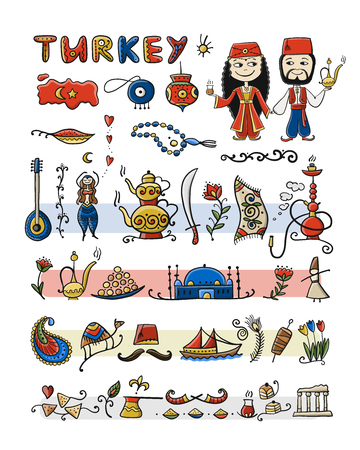 Travel to Turkey. Icons set for your design