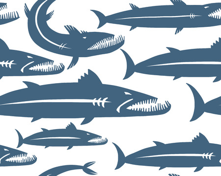 Barracuda fish, seamless pattern for your design. Vector illustration