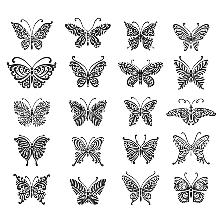 Ornate butterfly collection for your design Stock Illustratie