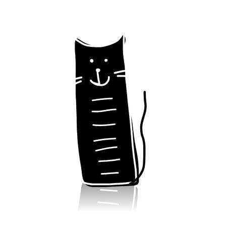 Black cat silhouette, sketch for your design. Vector illustration