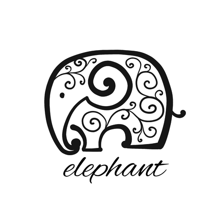 Ornate elephant, sketch for your design Vetores
