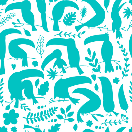 Toucans, paradise tropical bird. Seamless pattern for your design. Vector illustration