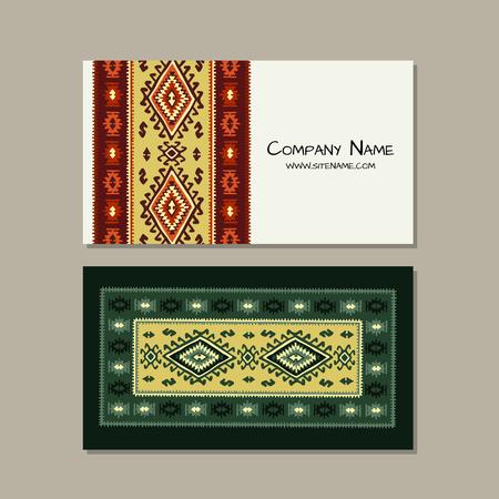 Business cards design, folk ornament. Vector illustration Banque d'images - 126610141