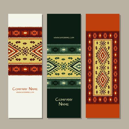 Banners design, folk ornament. Vector illustration Banque d'images - 126610144