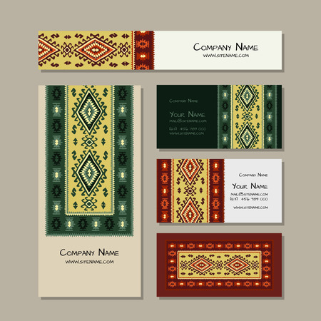 Business cards design, folk ornament. Vector illustration Banque d'images - 126610146