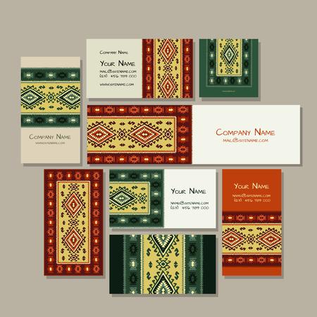 Business cards design, folk ornament. Vector illustration Banque d'images - 126610147