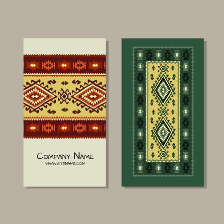 Business cards design, folk ornament. Vector illustration Banque d'images - 126610148