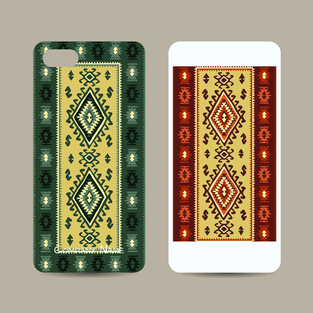 Mobile phone cover design, folk ornament. Vector illustration Stock Illustratie