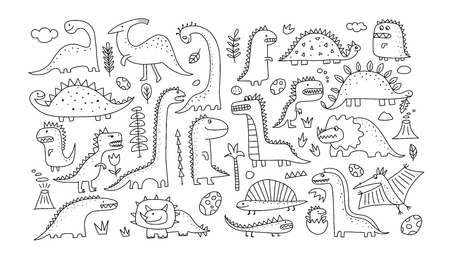Funny dinosaurs collection, childish style. Sketch for your design. Vector illustration Vectores