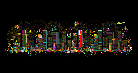 Colorful metropolis, abstract background for your design. Vector illustration 일러스트