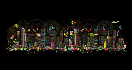 Kleurrijke metropool, abstracte achtergrond voor uw ontwerp. Vector illustratie