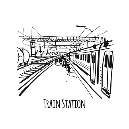 Train station, sketch for your design 写真素材 - 114460111
