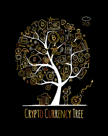 Bitcoin, cryptocurrency and blockchain technology, concept tree for your design