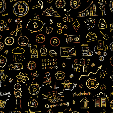 Bitcoin, cryptocurrency and blockchain technology, seamless pattern for your design. Vector illustration