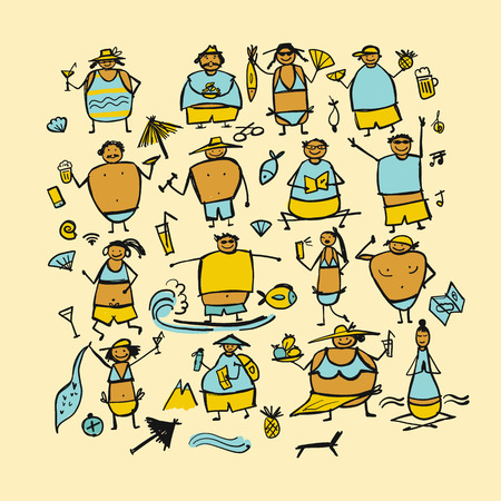 People relaxing at resort, characters for your design. Vector illustration
