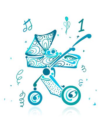 Baby carriage, ornate silhouette for your design. Vector illustration Vektorgrafik
