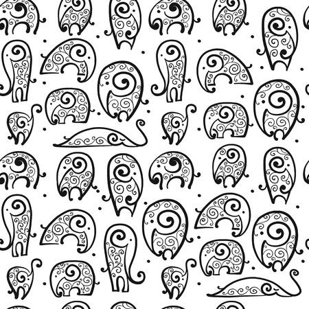 Ornate elephant, seamless pattern for your design Illustration