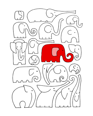 Ornate elephant collection, sketch for your design  イラスト・ベクター素材