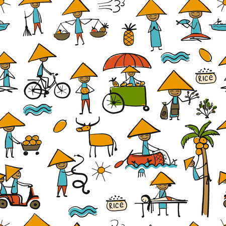 Asian lifestyle people, seamless pattern for your design Banque d'images - 114459935